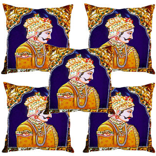 Sleep NatureS Mughal King Printed Cushion Covers Set Of Five