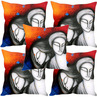 Sleep NatureS Radha Krishna Modern Art Printed Cushion Covers Set Of Five