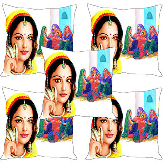 Sleep NatureS Village Girls With Bangles Printed Cushion Covers Set Of Five