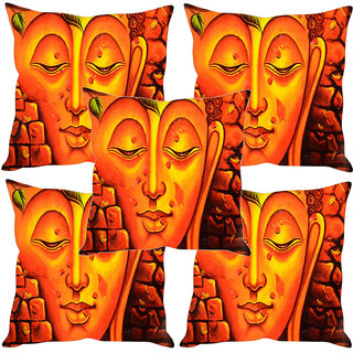 Sleep NatureS Buddha Printed Cushion Covers Set Of Five