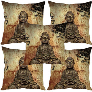 Sleep NatureS Buddha Statue Printed Cushion Covers Set Of Five