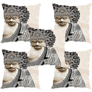 Sleep NatureS Buddha With Flowers Printed Cushion Covers Set Of Five
