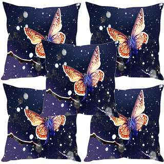 Sleep NatureS Butterfly Printed Cushion Covers Set Of Five