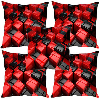 Sleep NatureS Red And Black Cubes Printed Cushion Covers Set Of Five