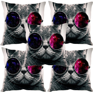 Sleep NatureS Cat Printed Cushion Covers Set Of Five
