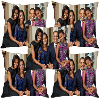 Sleep NatureS Obama Family Printed Cushion Covers Set Of Five