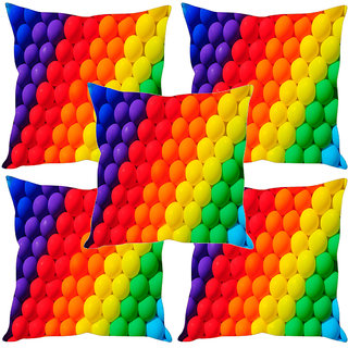 Sleep NatureS Colored Balls Printed Cushion Covers Set Of Five