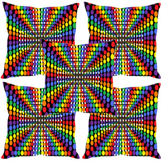 Sleep NatureS Colored Dots Printed Cushion Covers Set Of Five