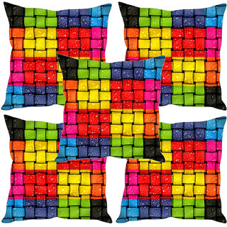 Sleep NatureS Checkered Printed Cushion Covers Set Of Five