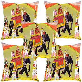 Sleep NatureS Mughals Caravan Printed Cushion Covers Set Of Five