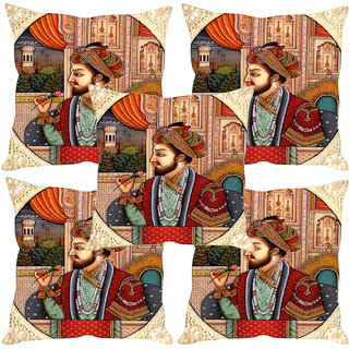 Sleep NatureS Mughals Printed Cushion Covers Set Of Five