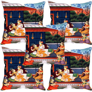 Sleep NatureS Mughal Court Printed Cushion Covers Set Of Five