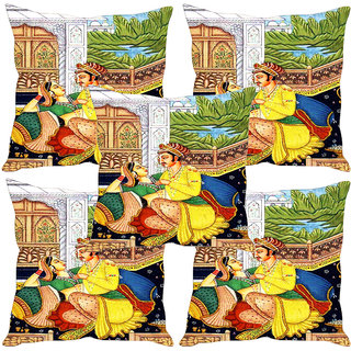Sleep NatureS Mughal Love Printed Cushion Covers Set Of Five