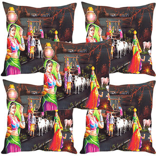Sleep NatureS Village Life Painting Printed Cushion Covers Set Of Five