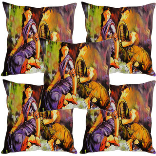 Sleep NatureS Two Women Aside Painting Printed Cushion Covers Set Of Five