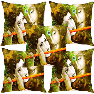 Sleep NatureS Radhe Krishna Abstract Painting Printed Cushion Covers Set Of Five