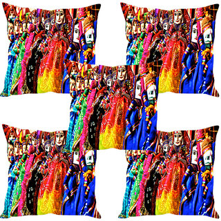 Sleep NatureS Rajasthani Puppets Printed Cushion Covers Set Of Five