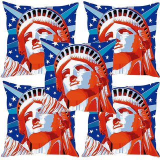 Sleep NatureS Statue Of Liberty Printed Cushion Covers Set Of Five