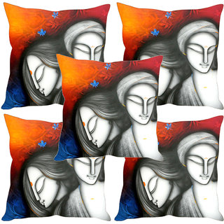 Sleep NatureS Lady Printed Cushion Covers Set Of Five