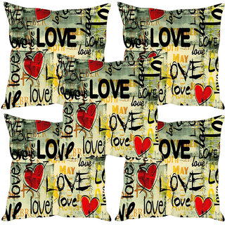 Sleep NatureS Love Printed Cushion Covers Set Of Five