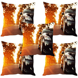 Sleep NatureS Car Printed Cushion Covers Set Of Five
