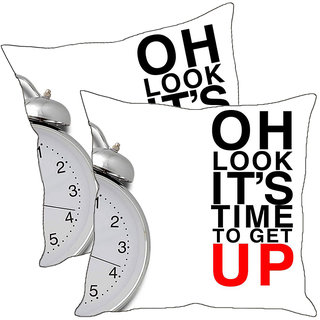 Sleep NatureS Oh Look ItS Time To Get Up Printed Cushion Covers Pack Of 2