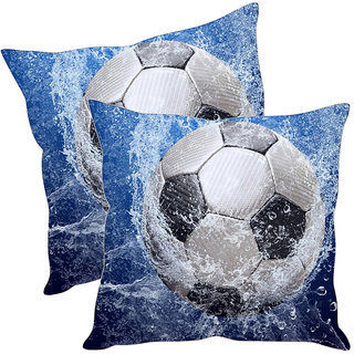 Sleep NatureS Football Printed Cushion Covers Pack Of 2