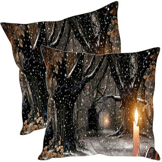 Sleep NatureS Snowfall Printed Cushion Covers Pack Of 2