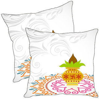 Sleep NatureS Happy Diwali Printed Cushion Covers Pack Of 2