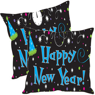 Sleep NatureS Happy New Year Printed Cushion Covers Pack Of 2