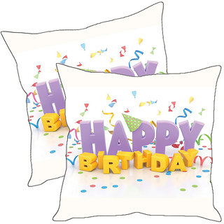 Sleep NatureS Happy Birthday Printed Cushion Covers Pack Of 2