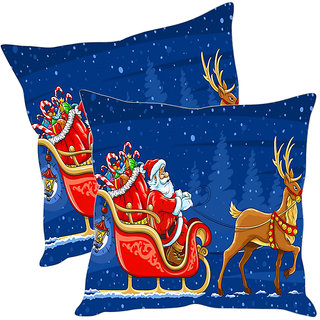 Sleep NatureS Merry Christmas Printed Cushion Covers Pack Of 2