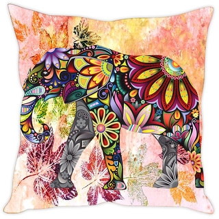 Sleep NatureS Elephant Painting Printed Cushion Cover