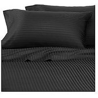 Super Soft Stripe Double Bed Sheet With 2 Pillow Covers (Black)