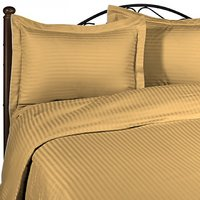 Super Soft Stripe Double Bed Sheet With 2 Pillow Covers (Gold)