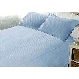 Super Soft Stripe Double Bed Sheet With 2 Pillow Covers (Blue)