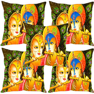 Sleep NatureS Radhe Krishna Gold Painting Printed Cushion Covers Set Of Five