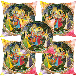 Sleep NatureS Radha Krishna Ethnic Painting Printed Cushion Covers Set Of Five