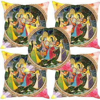 Sleep NatureS Radha Krishna Ethnic Painting Printed Cushion Covers Set Of Five