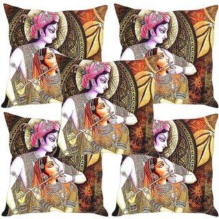 Sleep NatureS Radha Krishna Painting Printed Cushion Covers Set Of Five