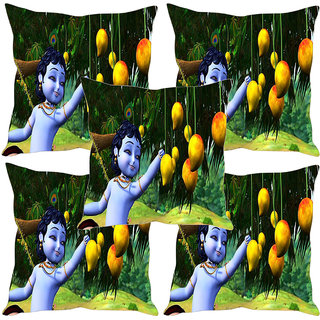Sleep NatureS Chota Krishna Printed Cushion Covers Set Of Five