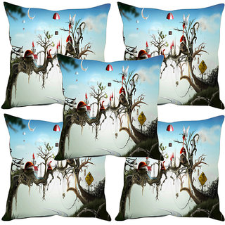 Sleep NatureS Tree House Printed Cushion Covers Set Of Five