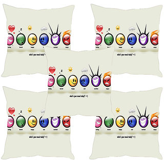 Sleep NatureS Smileys Printed Cushion Covers Set Of Five