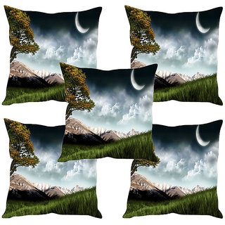 Sleep NatureS Mountains Printed Cushion Covers Set Of Five