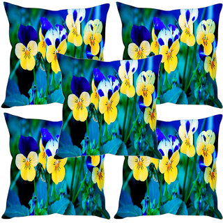 Sleep NatureS Flowers Printed Cushion Covers Set Of Five