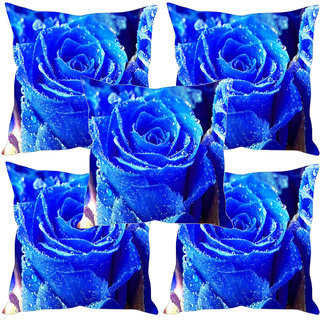 Sleep NatureS Blue Rose Digitally Printed Cushion Covers Set Of Five