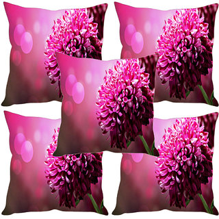 Sleep NatureS Red Flower Printed Cushion Covers Set Of Five