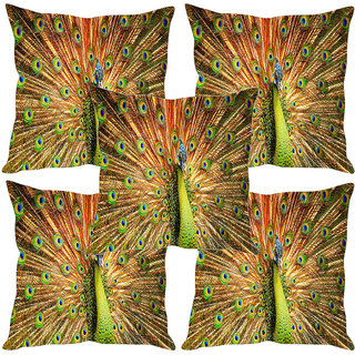 Sleep NatureS Peacock Printed Cushion Covers Set Of Five