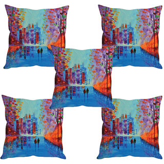 Sleep NatureS City Painting Printed Cushion Covers Set Of Five