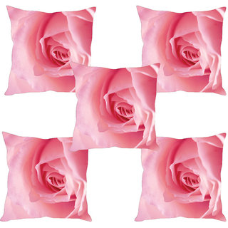 Sleep NatureS Rose Printed Cushion Covers Set Of Five